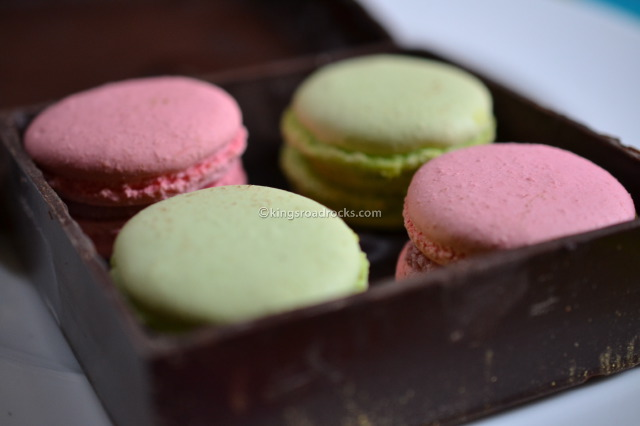 Macarons in a chocolate box